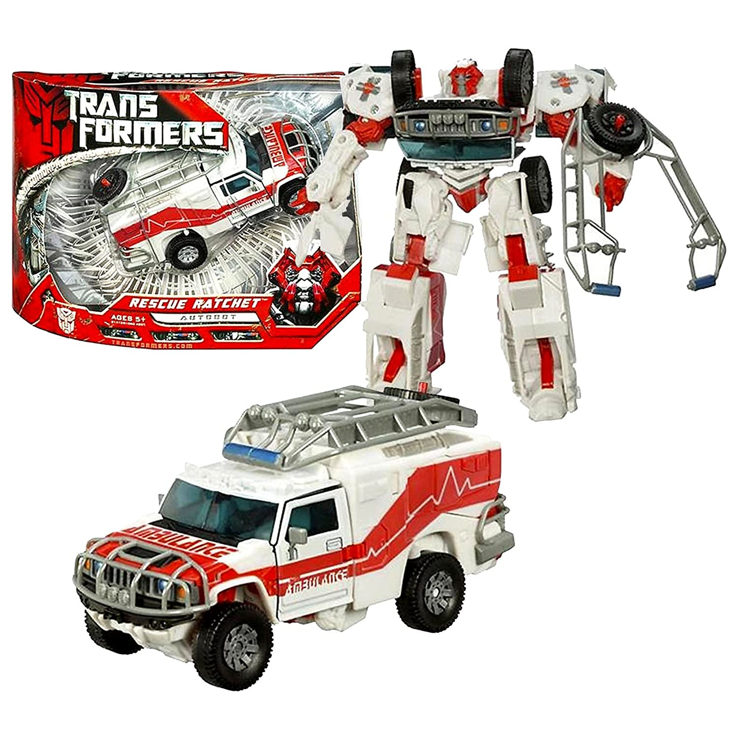 Hasbro Year 2007 Transformers Movie Series 1 Voyager Class 7 Inch Tall Robot Action Figure - Autobot RESCUE RATCHET with Automorph Forearm Cannon and Hidden Axe (Vehicle Mode: Hummer H2 Ambulance) transformers robots in disguise combiners 6 inch action figure hightower autobot crane