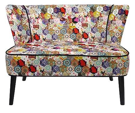 Canapé 2 places tissu motifs patchwork multicolores ~ So Skin
