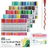 Yishaner 100 Colors Dual Tip Brush Pens Highlighter Art Markers 0.4mm Fine Liners & Brush Tip Watercolor Pen Set for Adult and Kids Coloring Books Bullet Journal, Calligraphy, Hand Lettering