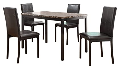Homelegance Tempe 2601-48 5-Piece Metal Dinette Set, Laminated Faux Marble Top