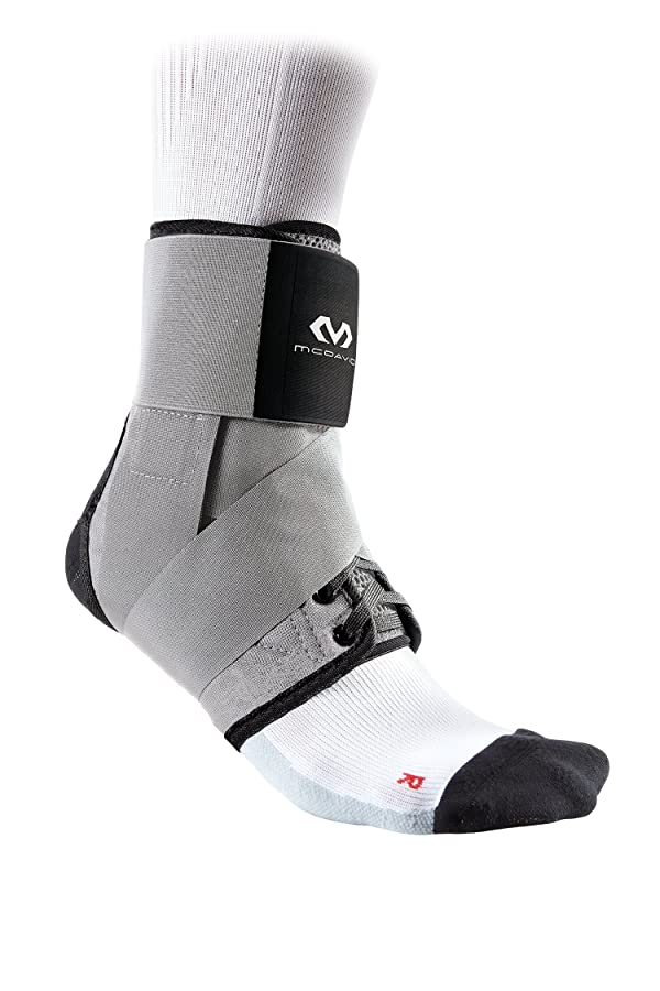 McDavid Level 3 Ankle Brace with Straps, Gray, Small (Color: Gray, Tamaño: Small)