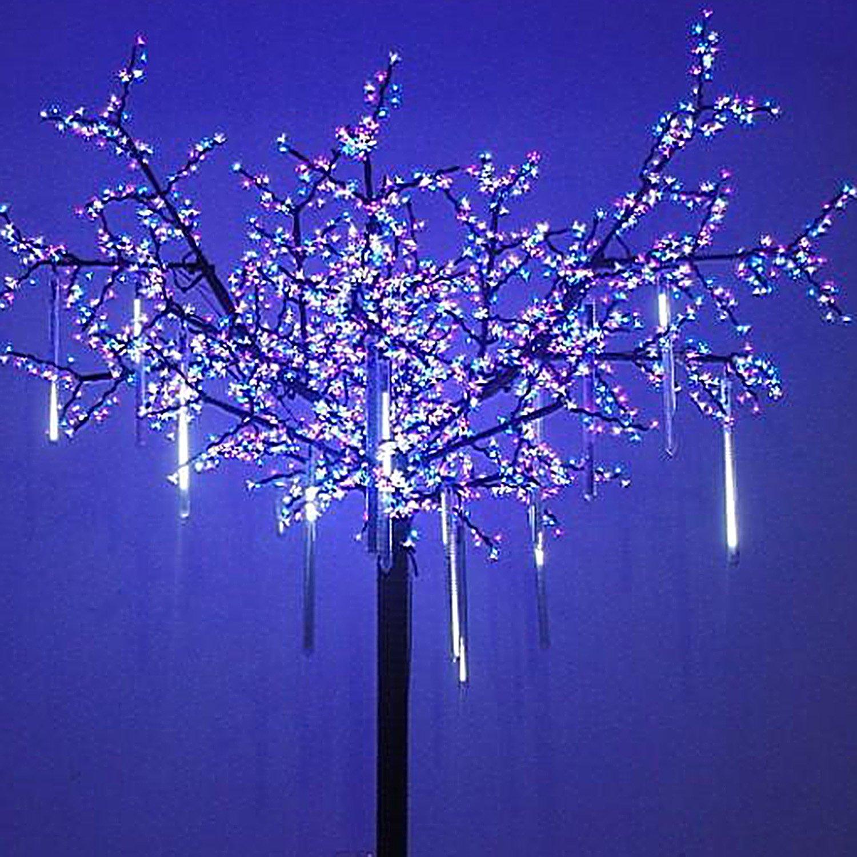 OMGAI 8 Falling Rain Drop/icicle Snow Fall String LED Xmas Tree Cascading Light Decor (white, US plug)