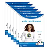 Printworks White T-Shirt Transfers Perfect for DIY Crafts, for Use on White Fabrics Only, Photo Quality, for Inkjet Printers, 6-Pack (30 Sheets), 8 ½