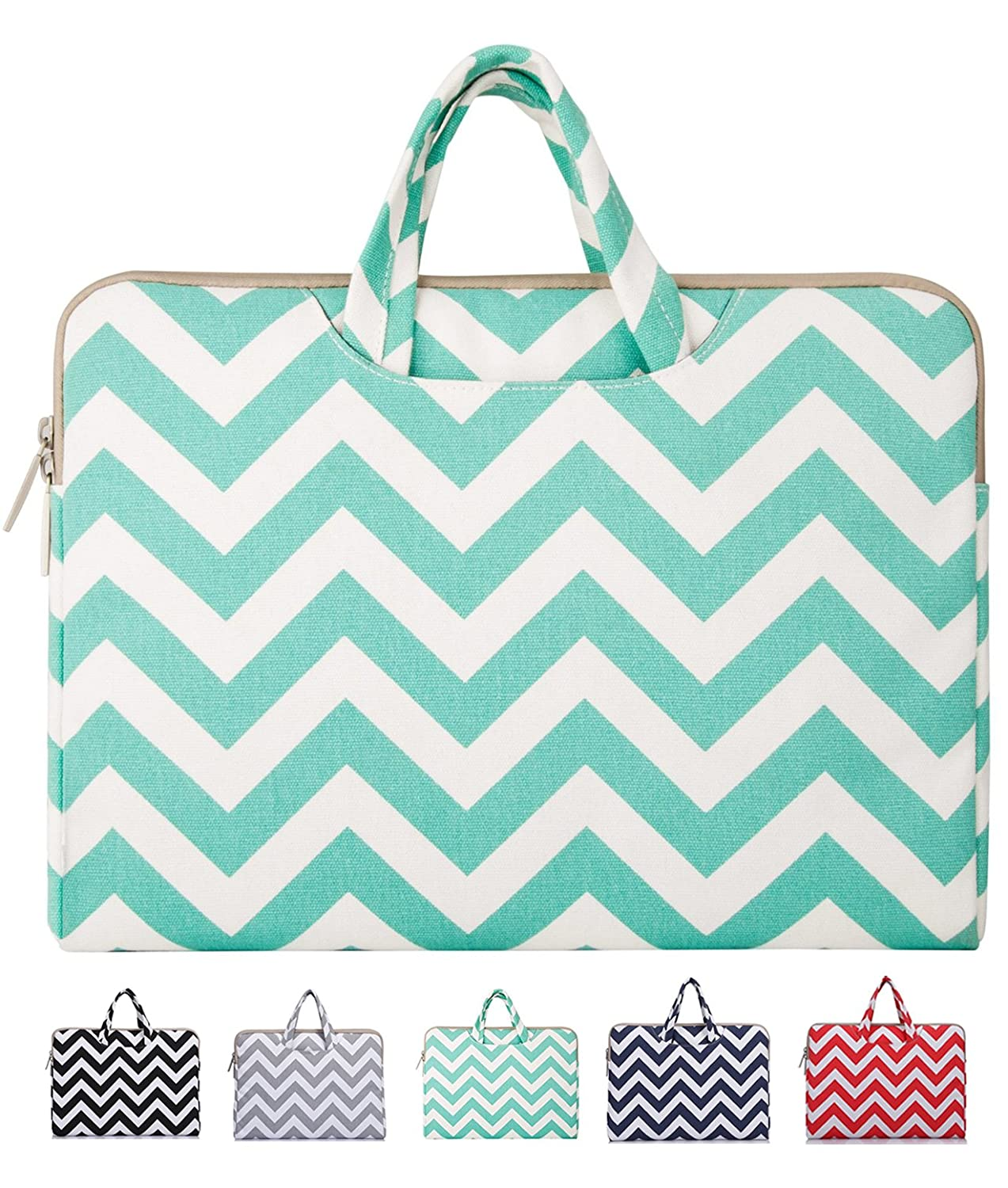 Mosiso - Chevron Hot Blue Canvas Fabric 15-15.6 Inch Laptop / Notebook Computer / MacBook / MacBook Air / MacBook Pro Briefcase Carry Case (Internal Dimensions: 15.75 x 0.79 x 11.61 inches; Chevron Hot Blue)