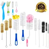 15Pc Food Grade Multipurpose Cleaning Brush Set, Includes Straw Brush|Nipple Cleaner|Bottle Brush|Blind Duster|Pipe Cleaner, Small,Long,Soft,Stiff Kit for Baby Bottles,Tubes,Jars,Bird Feeder