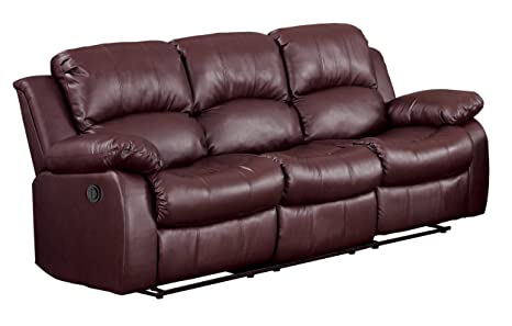 Homelegance 9700BRW-3PW Plushy Rolled Tufted Power Reclining Motion Bonded Leather Brown Sofa