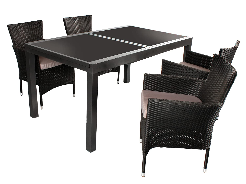 5tlg sitzgruppe modica aluminium ausziehtisch ca 150 210. Black Bedroom Furniture Sets. Home Design Ideas