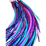 Feather Hair Extensions, 100% Real Rooster Feathers, Long Pink, Purple, Blue Colors, 20 Feathers with Bonus FREE Beads and Loop Tool Kit B1 (Color: Pink)