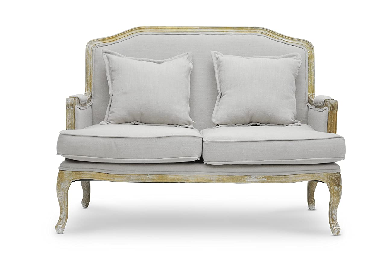 Baxton Studio Constanza Classic Antiqued French Loveseat 1