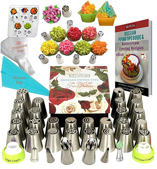 Russian Piping Tips 66 Pcs Icing Frosting Tips Cake Decorating Supplies 33 Russian Nozzles EXTRA LARGE Cupcake Decorating Russian Tips Set -Russian Ball Piping Tips +30 Baking Pastry Bags + GIFT BOX! (Color: 304 .18/8 Stainless Steel, Tamaño: 66pcs Russian Tips)