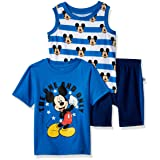 Disney Baby Boys Mickey 3 Piece Short Set, Blue, 18M (Color: Blue, Tamaño: 18 Months)