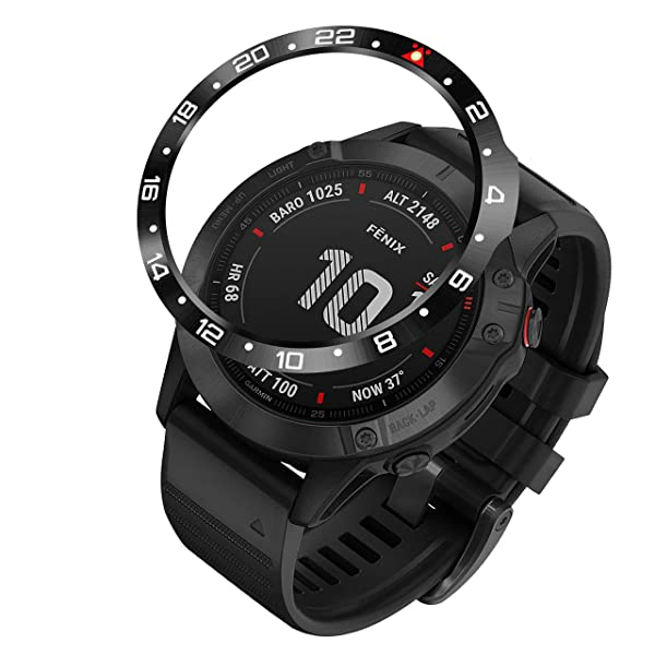 BaiHui Stainless Steel Bezel Ring Compatiable with Garmin Fenix 6X/6X Pro Watch, Bezel Ring Adhesive Cover Anti Scratch & Collision Protector for Garmin Watch Accessory (Black - Not for 6/6 Pro) (Color: Black, Tamaño: 6X / 6X Pro)