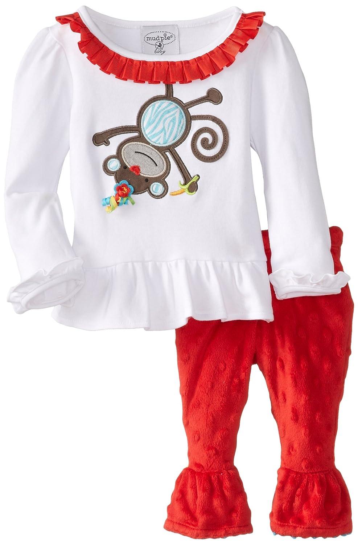 Mud Pie Baby Girls' Monkey 2 Piece Minky Pant Set
