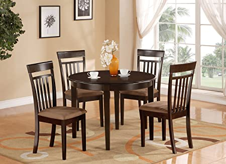 East West Furniture BOCA5-CAP-C 5-Piece Kitchen Table and Chairs Set, Cappuccino Finish
