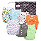 Unisex Baby Cloth Pocket Diapers 7 Pack, 7 Bamboo Inserts, 1 Wet Bag by Nora's Nursery (Color: Unisex, Tamaño: 7 Pack)