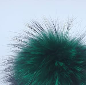 Fosrion 6.3 Diameter Big Raccoon Fur Pom Ball for Shoes Boots Hat Handbag Charms DIY Snap Button or Clasp (Green) (Color: Green, Tamaño: Snap Button)