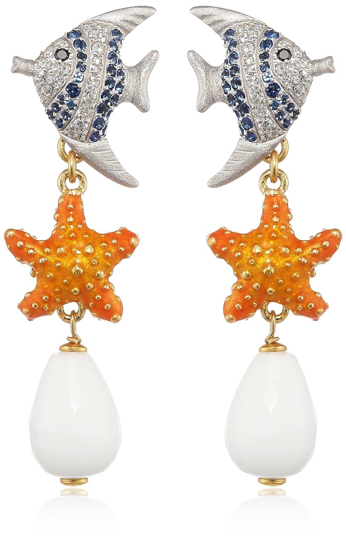 Misis Damen-Ohrringe Isla de Mujeres 925, Silber, Vergoldet, Zirkonia Ovalschliff weiß mehrfarbig Achat 6 cm – OR08647 günstig
