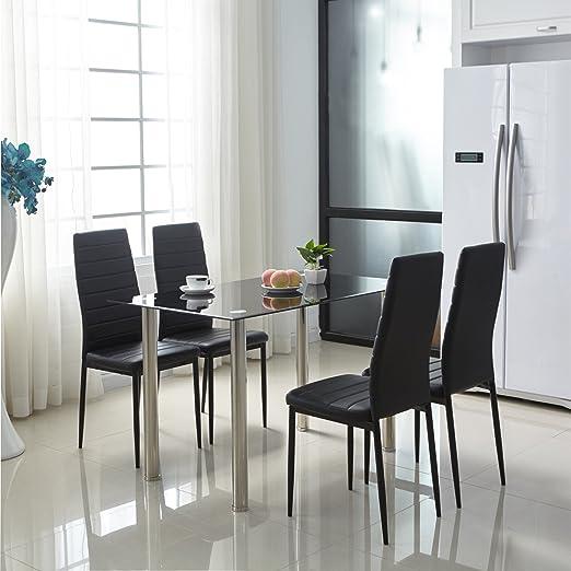 WV LeisureMaster 4er set Esszimmerstuhle Polsterstuhl mit Esstisch sehr pflegeleicht und langlebig(schwarz,120cm)