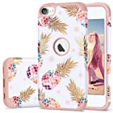 iPod 5 Case,iPod Touch 6 Case Pineapple,Fingic 2 in 1 Hybrid Slim Fit Case Hard PC&Soft Rubber Anti-Scratch Protective Case Cover for Apple iPod Touch 5/6th Generation,Flower Pineapple/Rose Gold (Color: T049-01 Rose Gold)