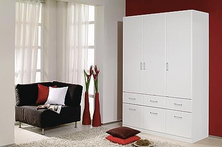 A9N69-3851 Aalen Weiß Kleiderschrank Jugendzimmerschrank Schrank 3turig mit 6 Schubladen ohne Spiegel ca. 136 cm