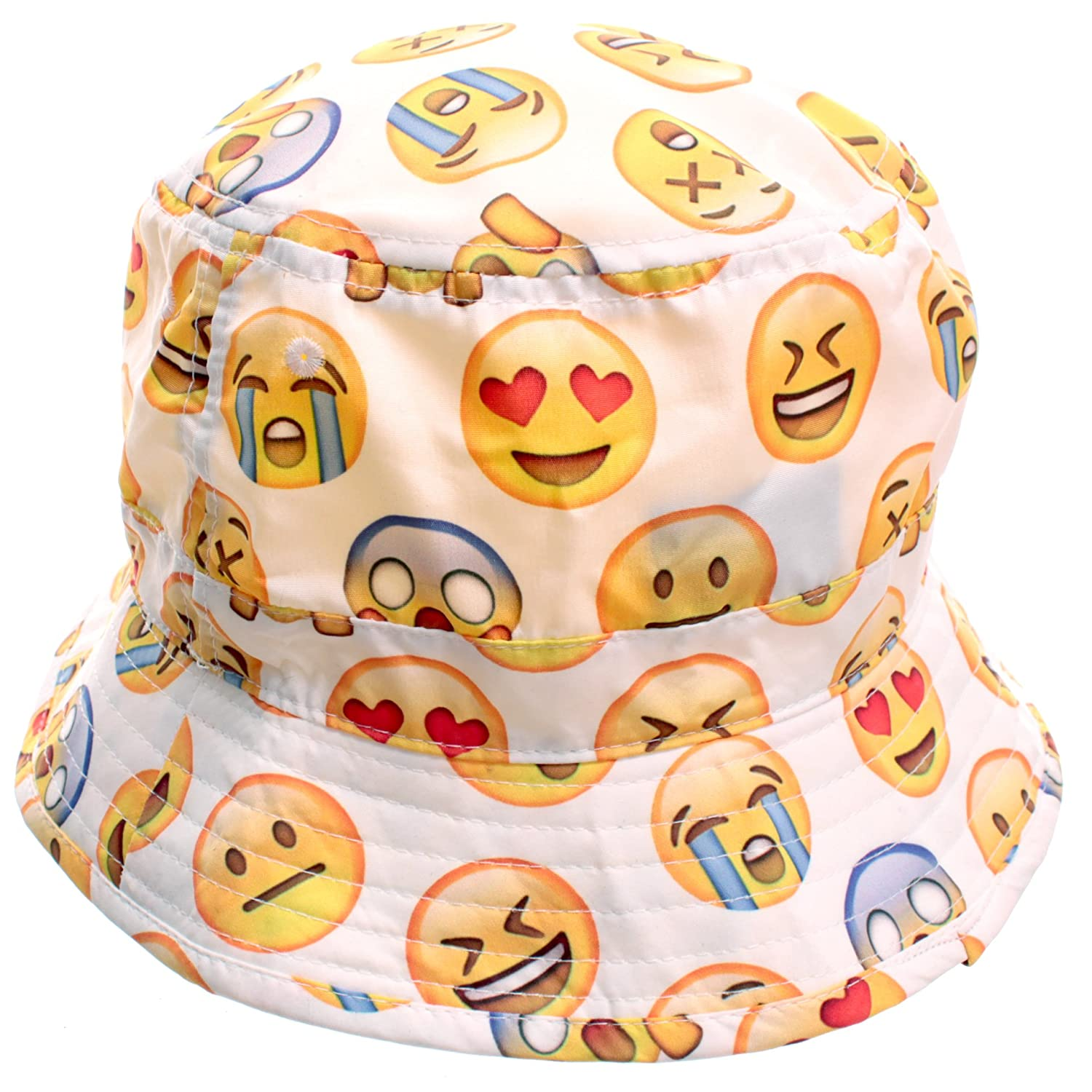 Bucket Hats Black And White White Emoji Bucket Hat