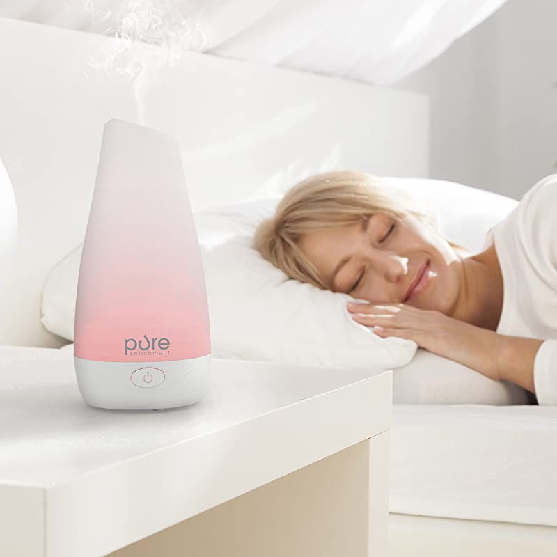 PureSpa Essential Oil Diffuser — Compact Ultrasonic Aromatherapy Diffuser With Ionizer and Color-Changing Light via Amazon