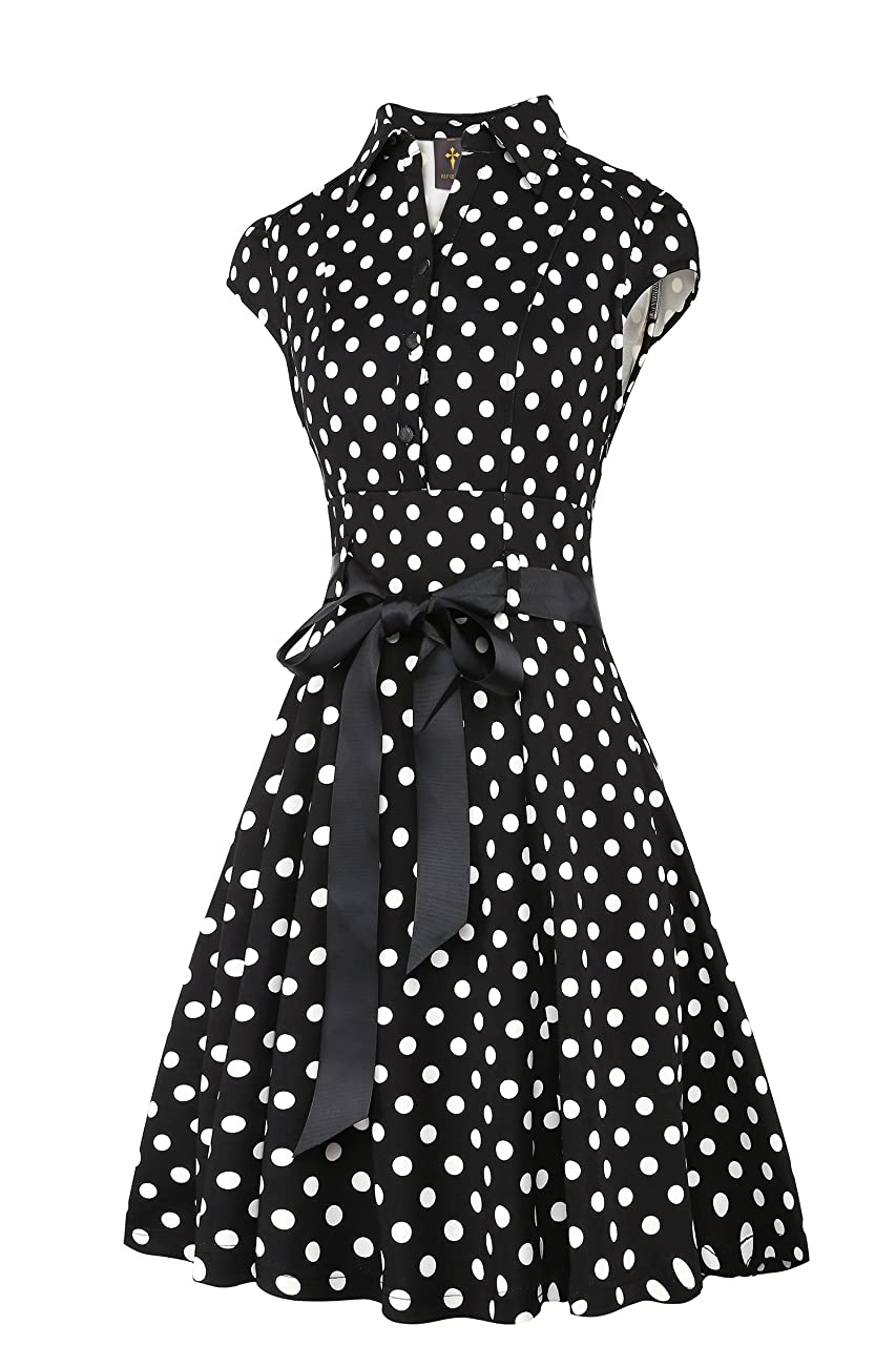 Elf Queen Women's Vintage Polka Dot Cocktail 1950s Tea Party Dress 2