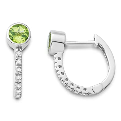 Miore 9ct White Gold Peridot and Diamond Hoop Earrings MG9091E