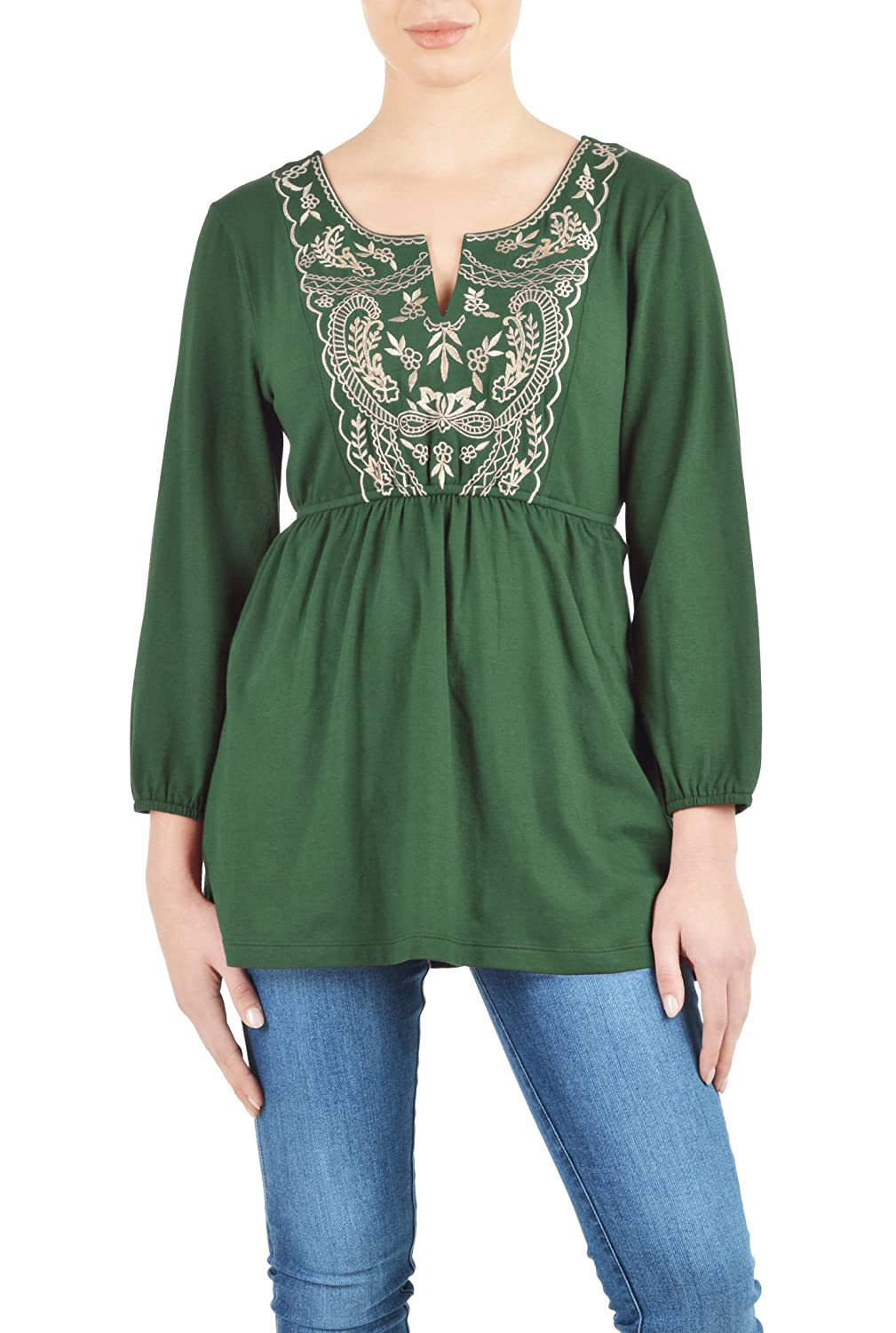eShakti Women's Custom Embellished bib cotton knit tunic Bottle green/gold