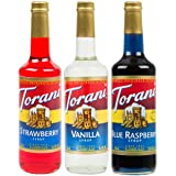 Torani Syrup Patriotic Flavor 3 Pack, Strawberry (Red), Vanilla (White), Blue Raspberry, Each 25.4 Ounces (Tamaño: 25.4 Ounces)