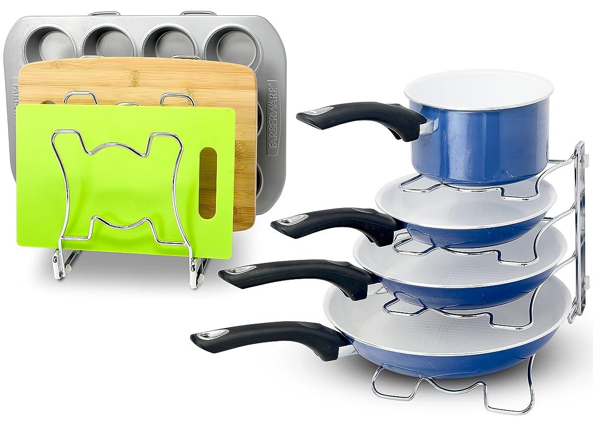 2 pack simplehouseware kitchen cabinet pan and pot cookware organizer rack holder chrome. Black Bedroom Furniture Sets. Home Design Ideas
