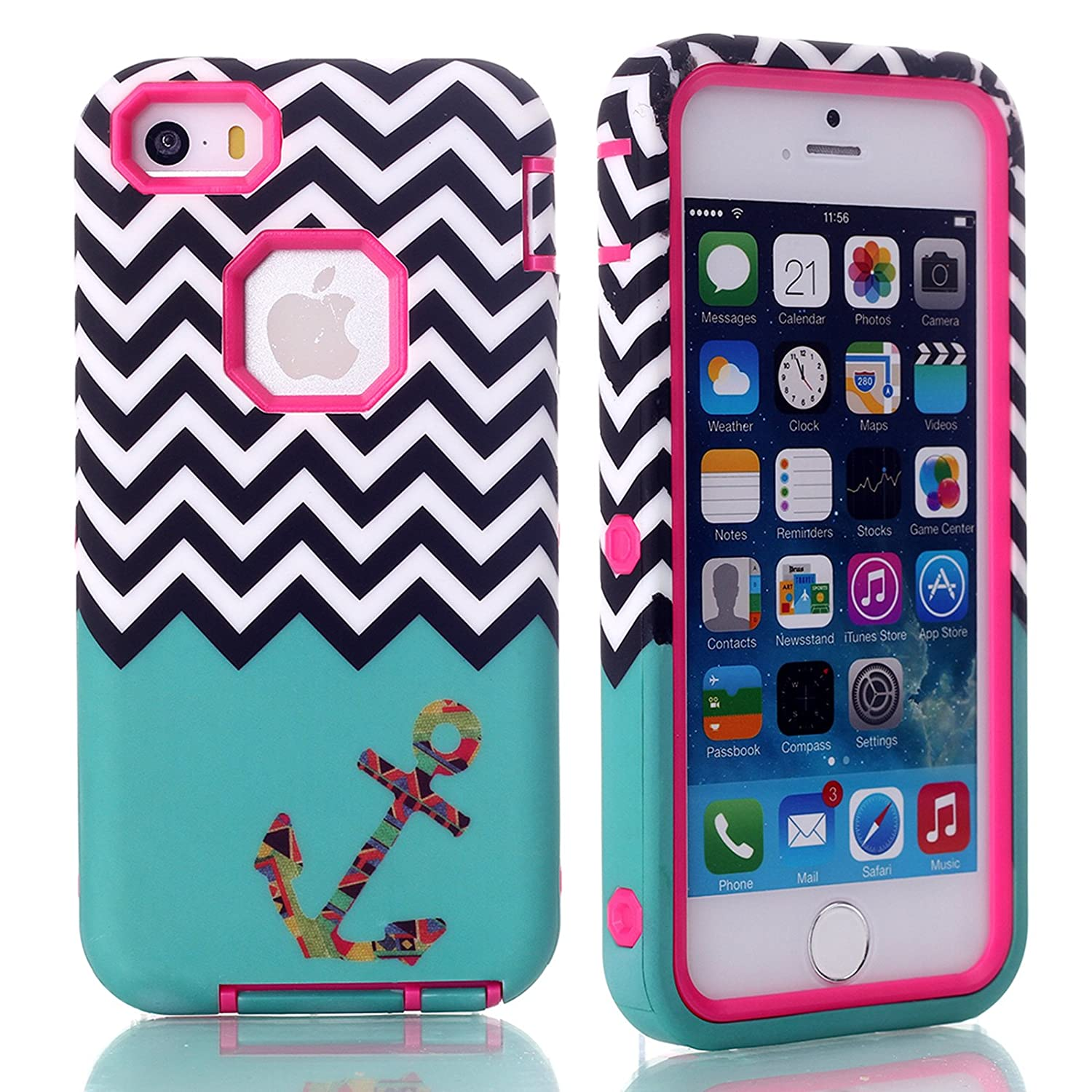 iPhone SE Case, Firefish Armor (Dual Bumper) Slim Fit (PC+Silicone) Rugged Shockproof (B-anchor Series) (Detachable) Shield Case for Apple iPhone SE/5/5S( Not for 5C)+One stylus-Rose