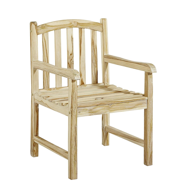 Trendy-Home24 massiver stabiler Teaksessel Sessel mit Armlehnen Durango Teak Stuhl Gartenstuhl white wash Shabby chic Look