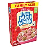 Kellogg's Breakfast Cereal, Frosted Mini-Wheats, Strawberry, Low Fat, Excellent Source of Fiber, Family Size, 21 oz Box