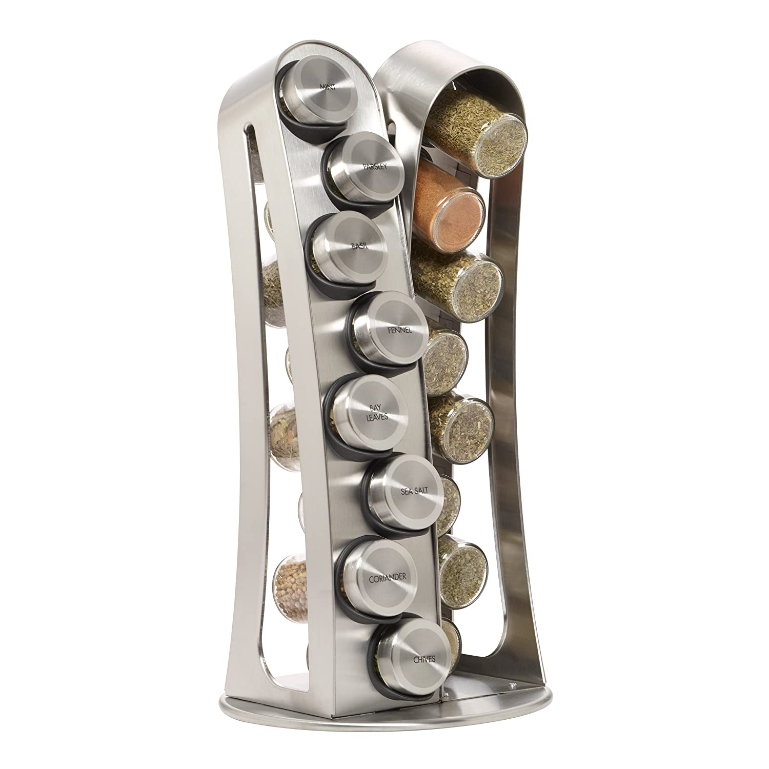 revolving stainless steel spice rack with spices included