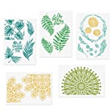 CODOHI 5 Packs Leaf Stencils Monstera Palm Tropical Green Leaves Floral Mandala Reusable Mylar Template - DIY Craft Stencils for Painting 8.6