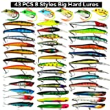 XBLACK Hard Fishing Lures Set 43pcs Assorted Bass Fishing Lures Kit Colorful Minnow Popper Crank Rattlin VIB Jointed Fishing Lure Set Hard Crankbait Tackle Pack for Saltwater or Freshwater (43 pcs) (Color: 43 pcs)