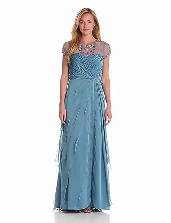 Adrianna Papell Women's Flutter Jewel Gown, Mallard, 6