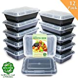 Enther Meal Prep Containers [12 Pack] Single 1 Compartment with Lids, Food Storage Bento Box | BPA Free | Stackable | Reusable Lunch Boxes, Microwave/Dishwasher/Freezer Safe,Portion Control (28 oz) (Color: 12 Pack 1 Compartment, Tamaño: 8.9 x 6.2 x 2.6 inches)
