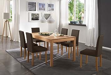 SAM® Tischgruppe Siggi 7tlg. Tisch in Kernbuche massiv 180 cm mit 6 x Stuhl Billi in braun / buche, geölt, massive Optik, naturliche Maserung, modernes Design, kombinierbar, Handarbeit, Lieferung per Spedition