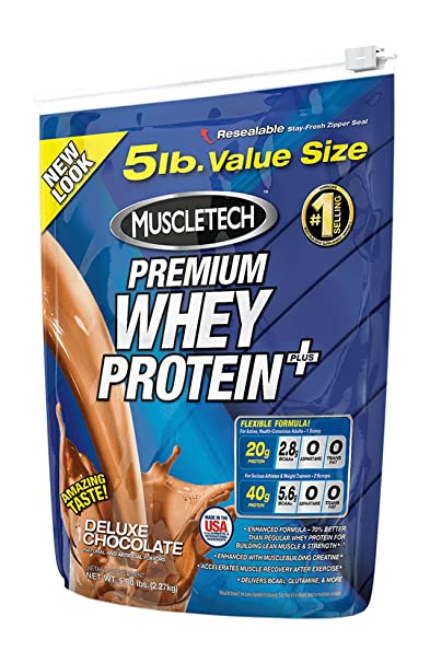 Muscletech 100% Premium Whey Protein Plus - 5 Lbs (Deluxe Chocolate) at amazon