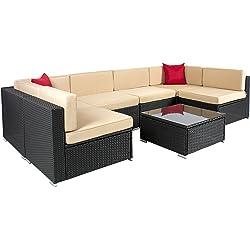 7pc Outdoor Patio Garden Wicker Furniture Rattan Sofa Set (Black)