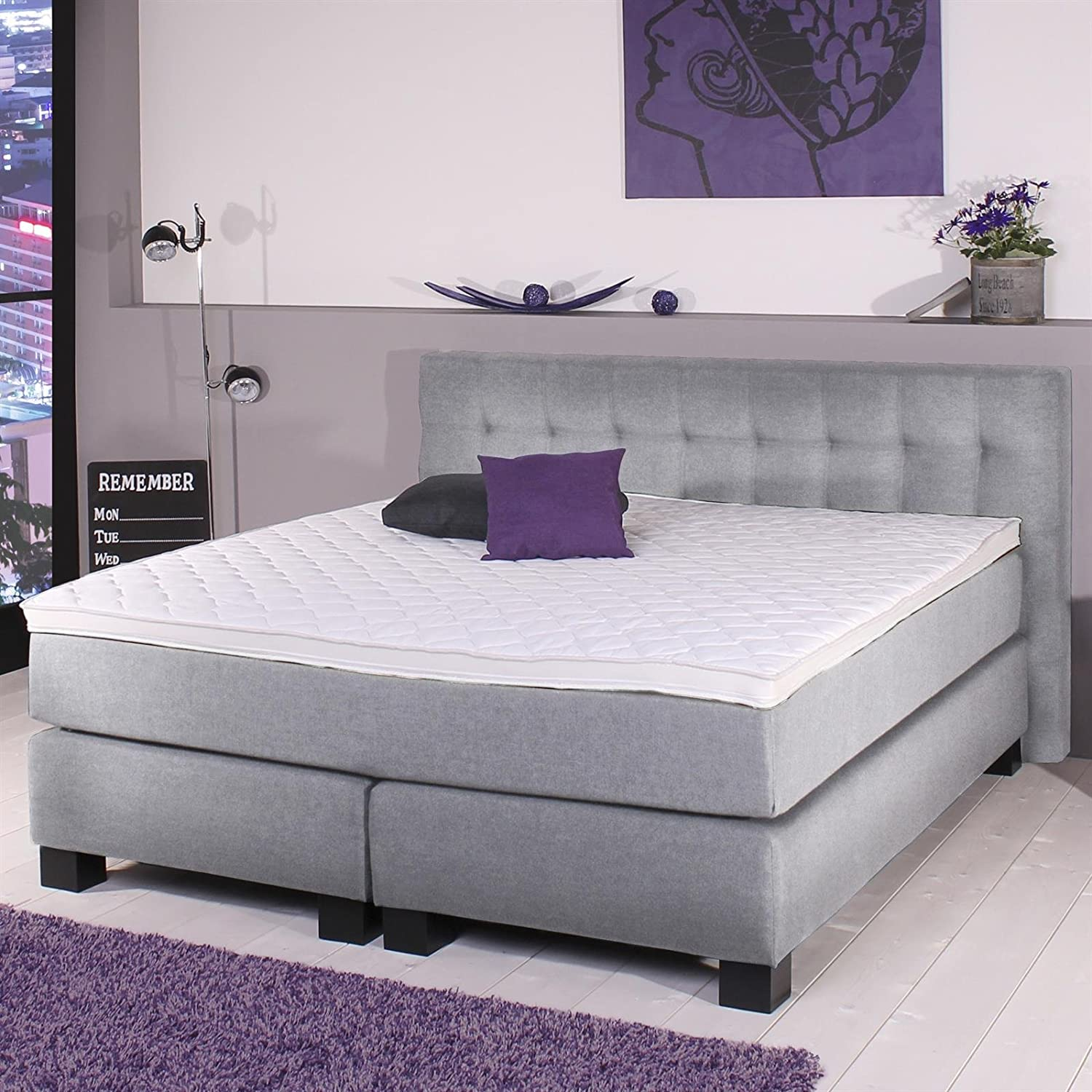 boxspringbett doppelbett hotelbett 180 x 200 cm mit matratze bezug leinen optik silber g nstig. Black Bedroom Furniture Sets. Home Design Ideas