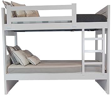 Sueñomueble - Litera infantil,juvenil blanco lacado 2 camas dm(mdf) 4 cms, no melamina. lacada en blanco.mod.patricia.
