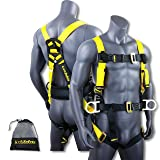 KwikSafety (Charlotte, NC) HURRICANE | OSHA ANSI Fall Protection Full Body Safety Harness w/Back Support | Personal Protective Equipment | Dorsal Ring Side D-Rings | Construction Industrial Roofing