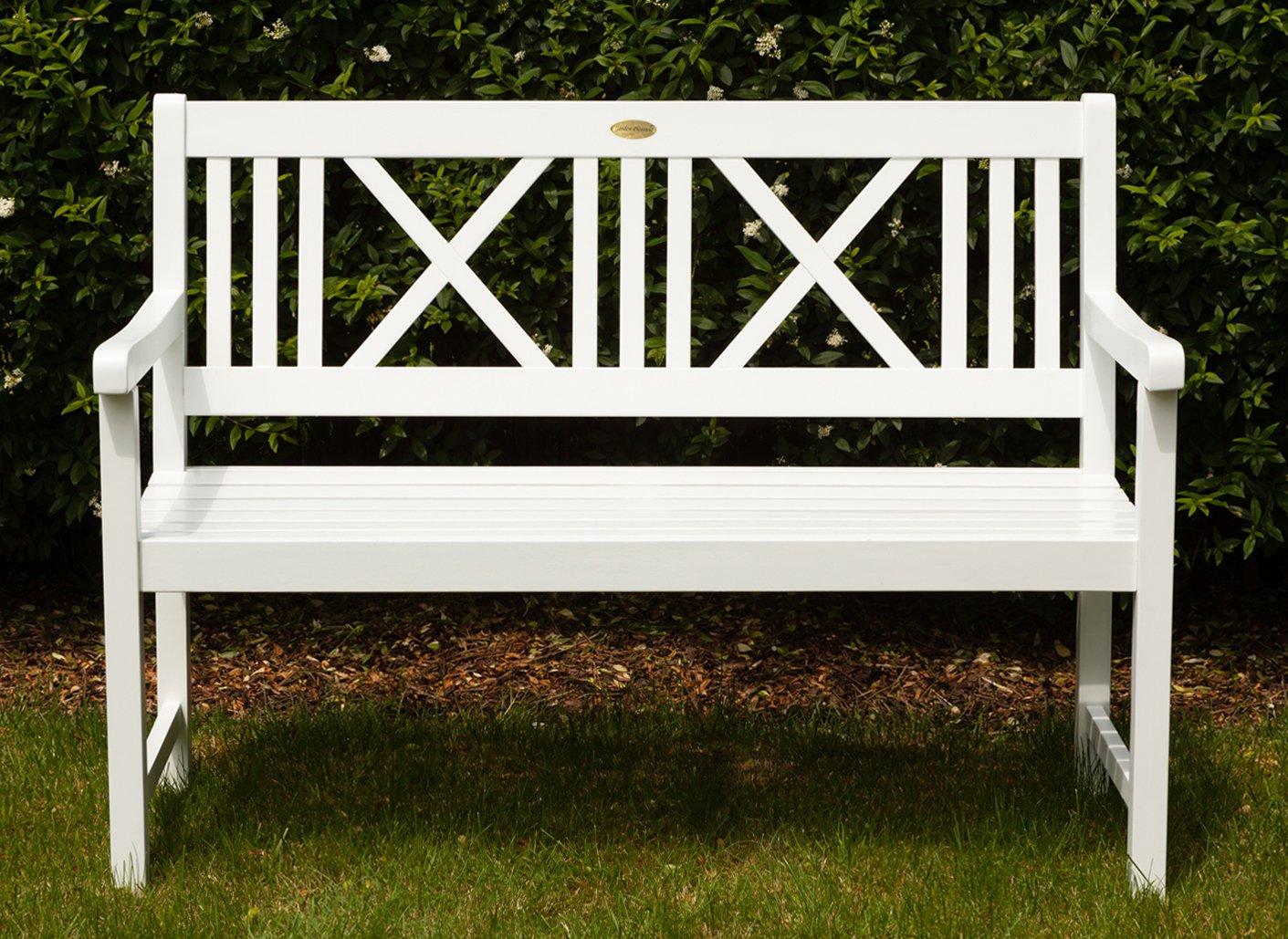 Landhausbank LÜBECK weiß lackiert, 2-Sitzer aus Eukalyptus 100% FSC, B 120 x H 89 x T 59 cm jetzt bestellen