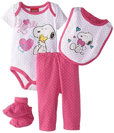 Amazon.com: Peanuts Baby-Girls Newborn Snoopy Girls 4 Piece Set ...