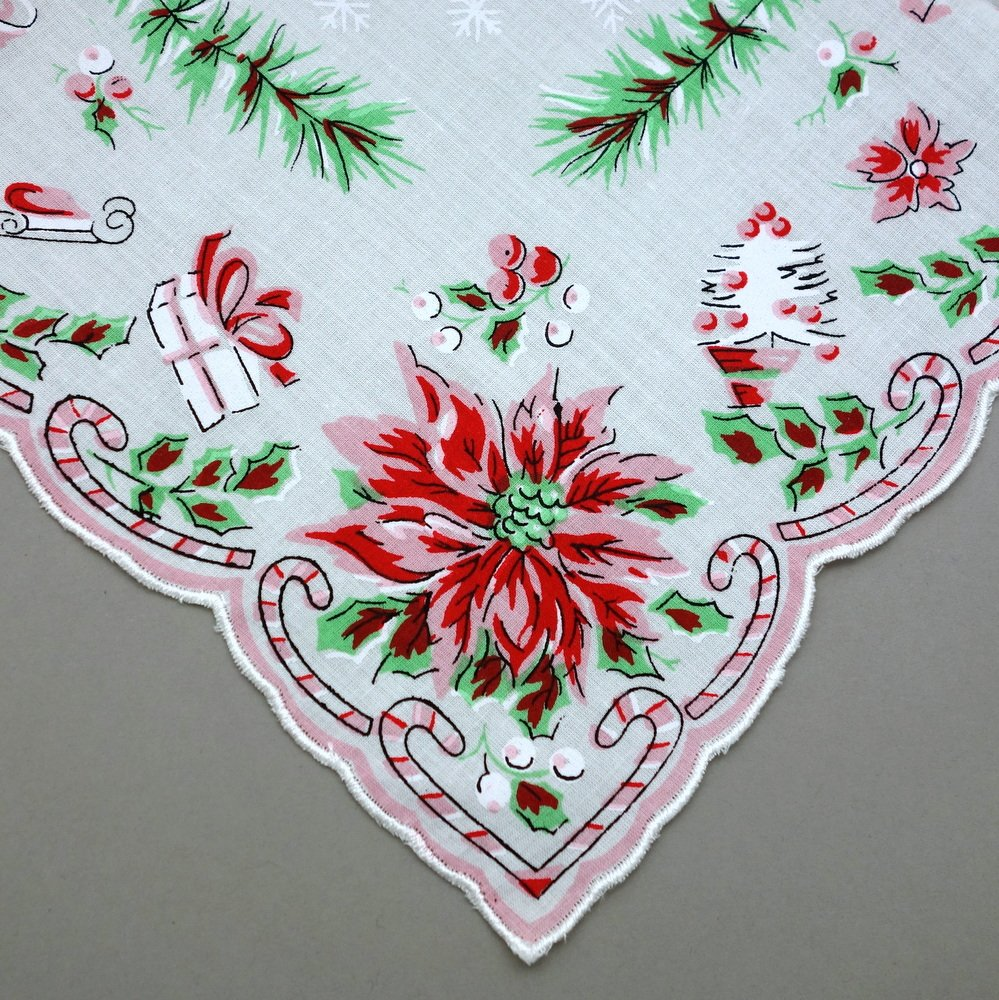 Holiday Christmas Red Green Cotton Ladies Print Handkerchiefs Hankie Hanky- Set of 3 1