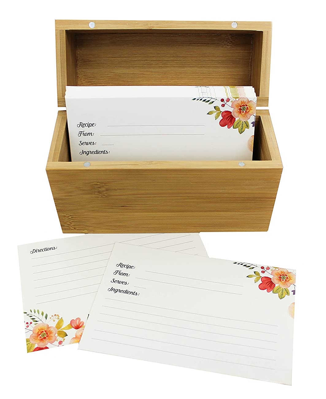 Bamboo Recipe Box Set With 100 Recipe Cards & 10 Blank Dividers | Holds Up To 200, 4x6 Cards | From Splendid Chef 0