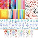 24 Pieces Flame Reflections Nail Stickers Holographic Fire Flame Nail Decals Nail Foil Transfer Stickers Art Tape 3D Vinyls Nail Stencil for Adhesive Nails Manicure DIY Decoration